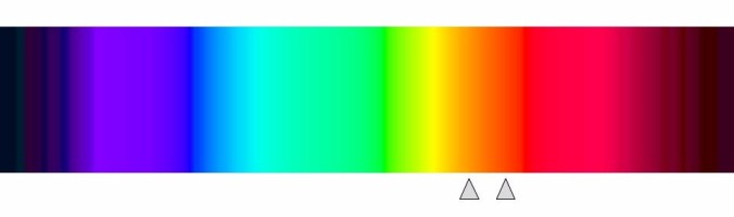 Two triangles point on the spectrum, one to the right of yellow and another to the left of red. Again, a musical chord of multiple pitches is actually a good metaphor for this, possibly a better one.