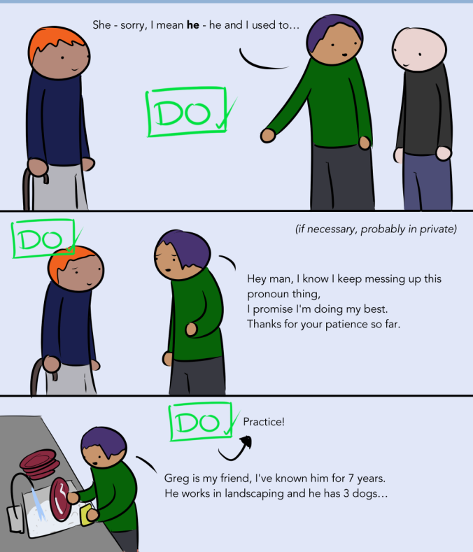 A continuation of the webcomic. An ally says 'She-sorry, I mean he- he and I used to...' then later apologizes in private with 'Hey man, I know I keep messing up this pronoun thing, I promise I'm doing my best. Thanks for your patience so far.' Then the comic suggests practicing your pronouns by telling a story like 'Greg is my friend, I've known him for 7 years. He works in landscaping and he has three dogs.'