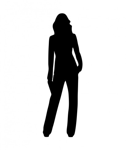 Silhouette of the body shape many people think of when considering the female form.