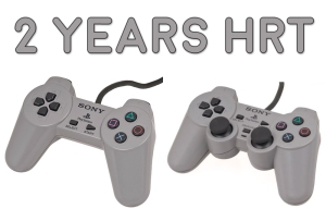 The image caption says 2 Years HRT and shows two video game controllers. They look the same except the controller on the right has two big joysticks in the center, making it look like it has boobs. Yeah, yeah, I have the maturity of a 14-year-old. Blame it on second puberty.
